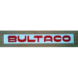 Adhesivo Bultaco letra roja perfil blanco.