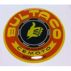 Anagrama deposito Bultaco, color amarillo y rojo.
