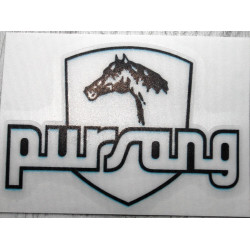 Bultaco Pursang white transparent adhesive.