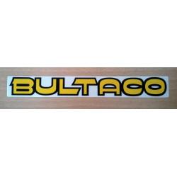 Adhesivo Bultaco letra amarilla perfil negro.