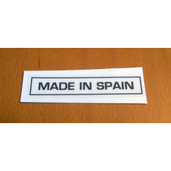 """Adhesive """"Made in Spain"""" for deposit transparent."""