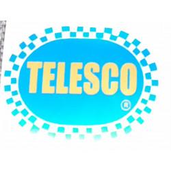 Adhesivo Telesco, fondo color azul.