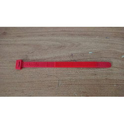 Flexible plastic clamp red.